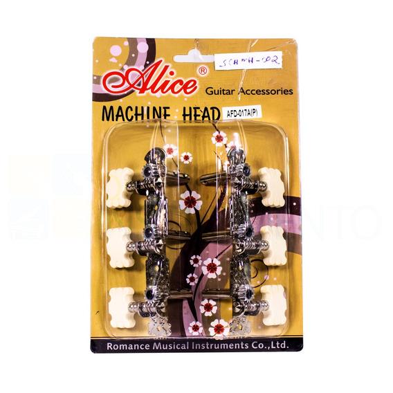 Tarraxa Para Violão Metal Alice Cromada 3 Botões Plastico