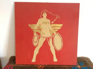 Wonder Woman- Cuadro Tallado En Madera