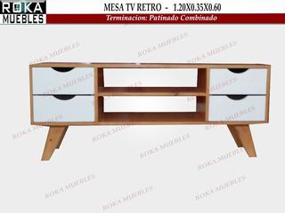 Mesa Retro Tv Lcd Con Cajones 1.20x0.35x0.55 Patinado Roka