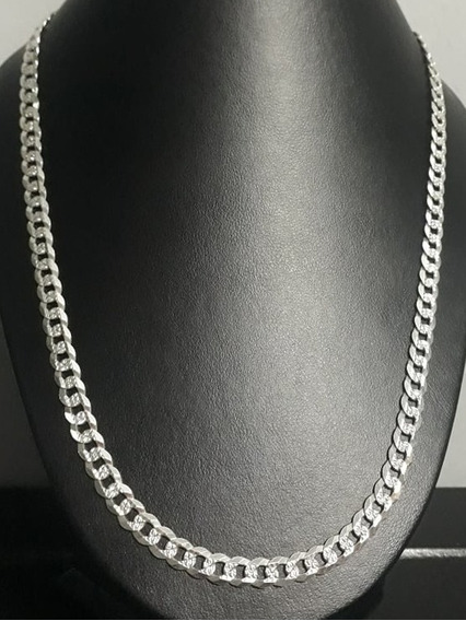 Cadena Gruesa Cubana Diamantada Plata 925