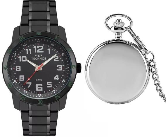 Relógio Masculino Technos T20 Aço Preto + Relg. Bolso