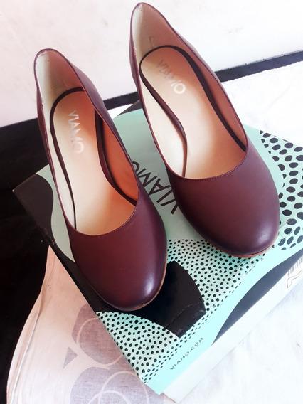 Zapatos De Cuero Viamo Otoño Invierno 2020! Nro 38
