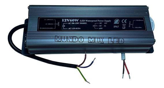 03pçs Fonte Blindada Automática P/ Led Ip67 60w 12v 5a Bivol