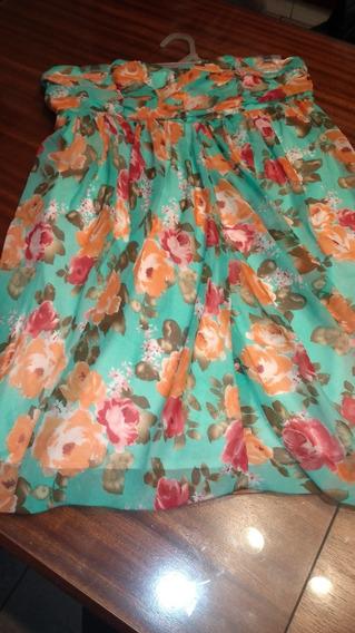 Vestido Eulalia Strapless Estampado Flores Drapeado T M/l