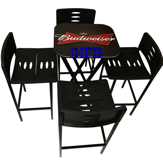 Jogos De Mesa Bar Bistrô Linha Beer Com 4 Banquetas Pretas