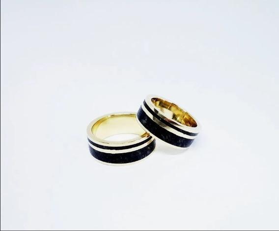 Par Alianças Ouro 18 K Pedras Turmalina Negra 8 Mm