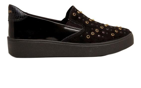 Zapatos Panchas Mujer Cuero Ecológico Negro Con Piedras
