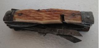 Antigua Cortaplumas Americana Cacha De Hueso