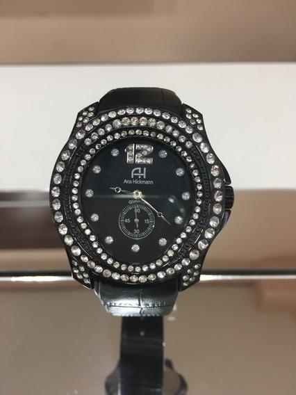 Relógio De Pulso Ana Hickmann Ah28277 Couro Preto Feminino
