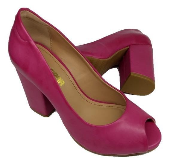 Sapato Salto Grosso Quadrado Peep Toe Aberto Feminino Rosa