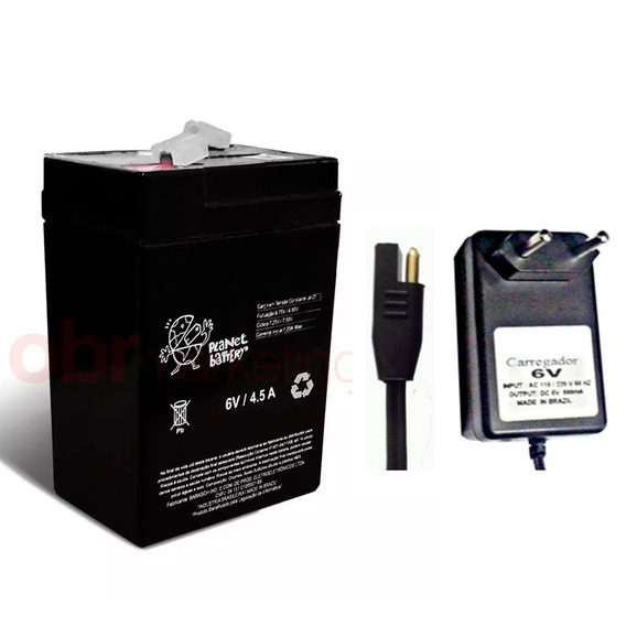 Kit Bateria 6v 4,5ah Original + Carregador 6v Moto Elétrica