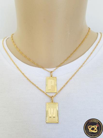 Pingente Letra Inicial P,w + Corrente Folheado Ouro. C1ppw22