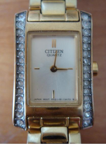 Reloj Citizen Dama 5421, Dorado Con Brillos
