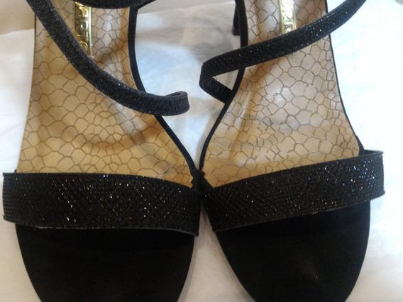 Sandalia Calçado Salto Marrom Com Brilho - Feminino