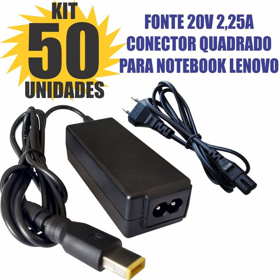 Kit 50 Peças Fonte 20v 2,25a Conect Quadrado Notebook Lenovo