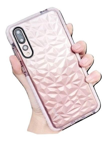 Funda Transparente Diamante Rudo Samsung Huawei + Mica 6d