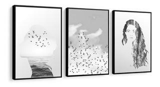 Quadros Decorativos C Moldura Pássaros Mulher Paisagem