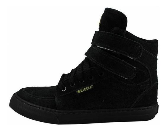 Tênis Sneakers Mad Bull Staff Preto Total Original Cano Alto