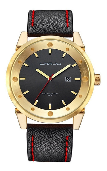 Relógio Masculino Social Dourado De Luxo Pulseira Em Couro