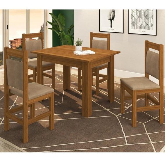 Conjunto Mesa 122 Zamarchi Com 4 Cadeiras 17 Canela/cacau