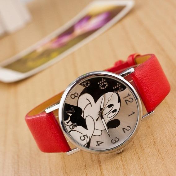 Relógio Mickey Mouse Pulseira Couro