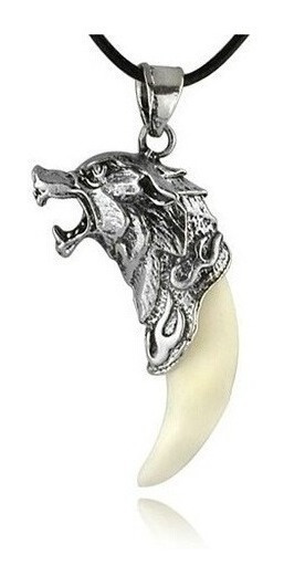 Colar Cordão Pingente Masculino Dente De Lobo Branco
