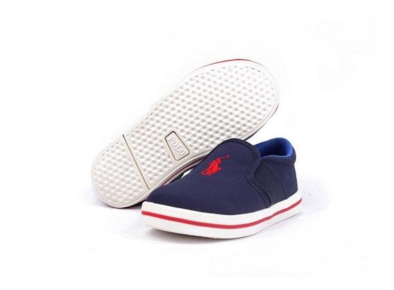 Tenis Polo Ralph Lauren Para Niño Azul Marino Tipo Slip On