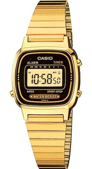 Relógio Casio Feminino Vintage La670wga-1df Digital Dourado