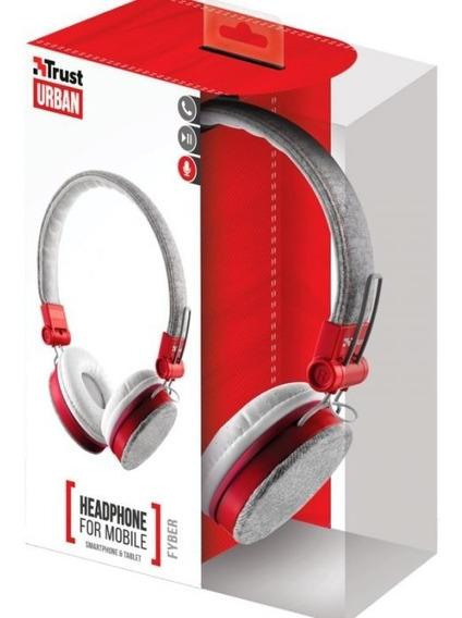 Fona De Ouvido Headphone Trust Urba Fyber Cinza Com Vermelho