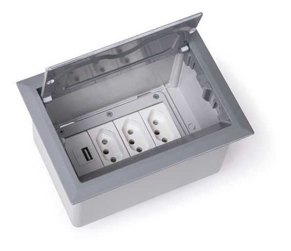 Caixa De Mesa Tomada 4 Blocos Alumínio Open Box Qtmov