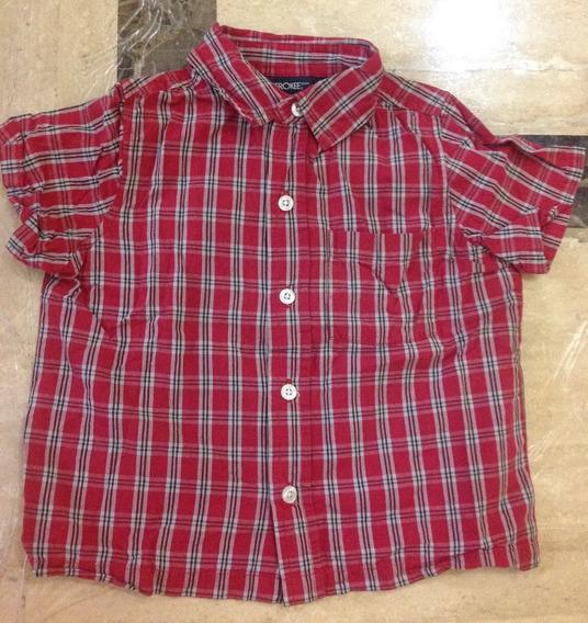 Camisa Manga Corta A Cuadros Rojo Niño Talla 4 Cherokee