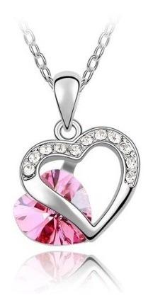 Collar Corazón Cristal Acero Inoxidable
