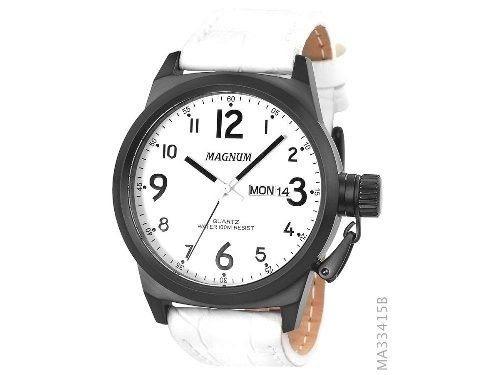 Relógio Masculino Magnum Calendário Branco/preto Ma33415 +nf