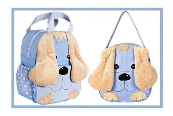 Kit Bolsa Mochila De Bebê Maternidade Dog Azul Menino Barato