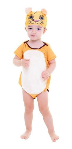 Imagem 1 de 1 de Fantasia Body Bebê Simba O Rei Leão Disney + Touca 1 A2 Anos