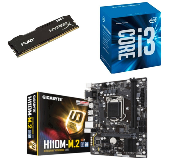Kit Intel I3 7100 Gigabyte H110m M2 Hx 8gb Fury 2400 Mhz