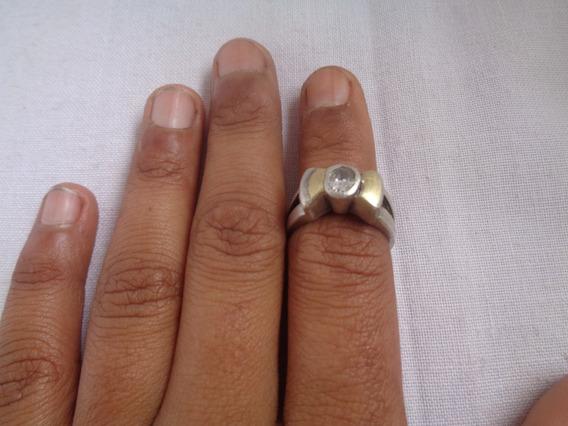Anel Prata De Lei Zirconia Detalhes Em Ouro Aro 18 - 15*