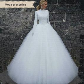 Vestidos De Noiva Moda Evangélica Luxo P A Plus Size