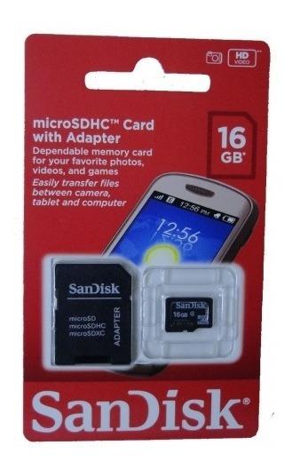 Cartão De Memória 16gb Micro Sd Sandisk + Adaptador