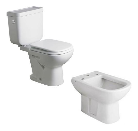 Juego Baño Ferrum Bari Inodoro Largo Bidet Depo Dual+asiento