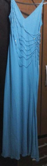 Vestido Azul Com Det De Misanga Pronta Entrega