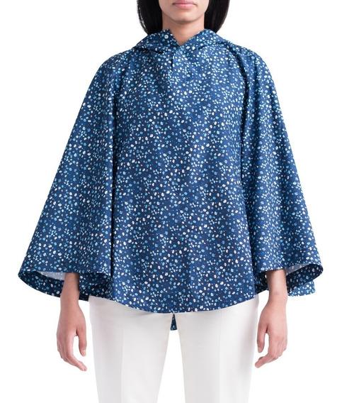 Campera Rompevientos Mujer Herschel Poncho Azul/flores