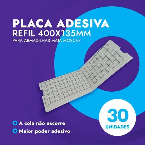 30 Placa Cola Refil 400x135 Pega Mata Mosca Mosquito Insetos