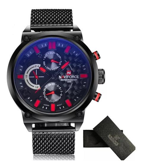 Relógio Masculino Naviforce Quartzo 9068 Pulseira De Aço