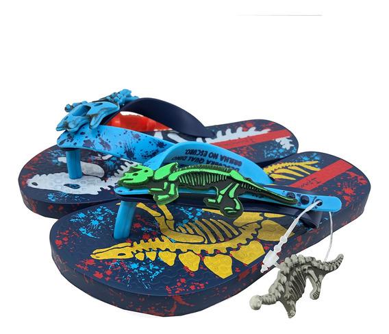 Chinelo Infantil Ipanema Dinossauro Neon Azul - 26492