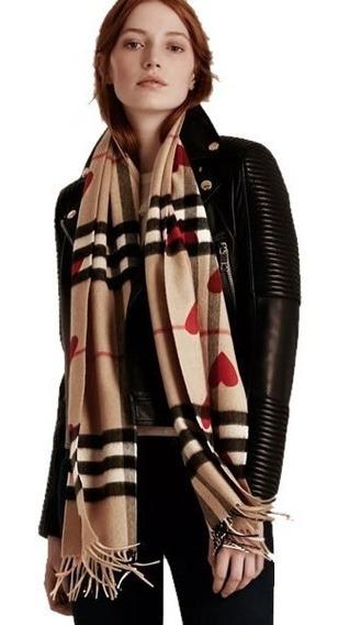 *fashionstore* Bufanda Burberry Unisex Hearts Incluye Caja