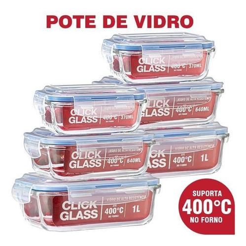 Imagem 1 de 5 de Kit Com 6 Potes De Vidro Click Glass Premium 100% Herméticos