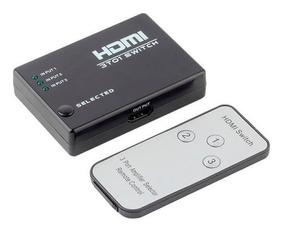Chave Seletora Switch Hdmi 3 Ent 1 Saída Com Controle Remoto