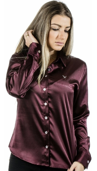 Camisa Feminina Anitta - Cetim C/ Elastano - Pimenta Rosada