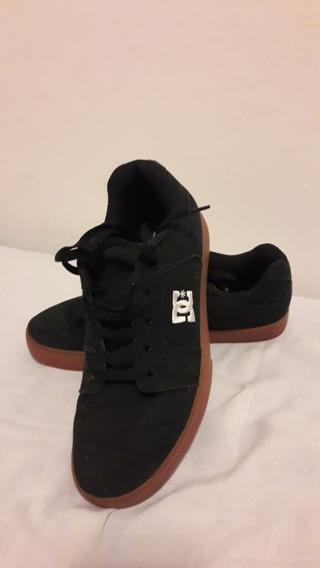 Zapatillas Negras Dc De Tela - Suela Marrón